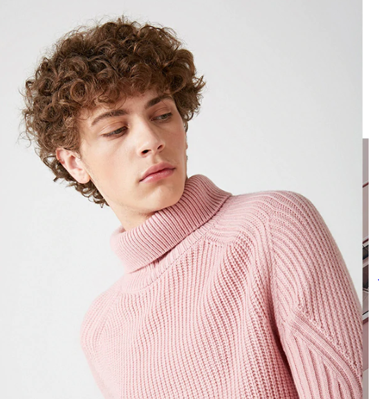 High Neck Multiple Colors Turtleneck Knitted Pullovers Men's Wool-blend Sweater