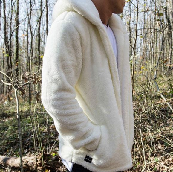 Men's winter thick hoodies tops fluffy fleece fur hooded coat long sleeve cardigans outerwear coat