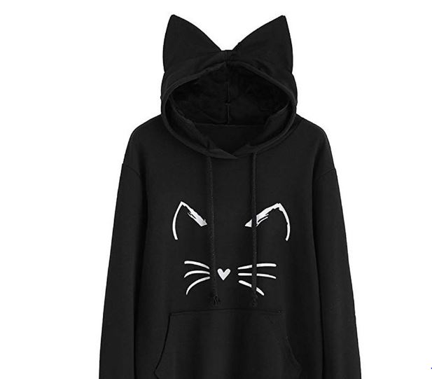 Women's Sweaters Long Sleeve Cat Ear Hoodies Sweatshirt Pullover Tops Blouse Pullover Poleron