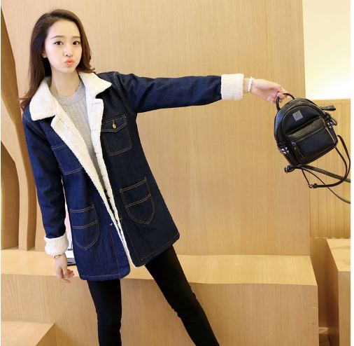 Women's thick cotton coat long section was thin lamb cotton windbreaker wild loose ladies  jacket