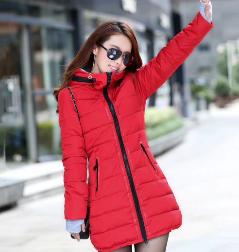 Women hooded warm coat plus size candy color padded cotton jacket