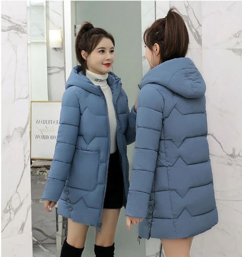 Jacket thin coats parkas female down cotton hooded coat thick warm loose jackets