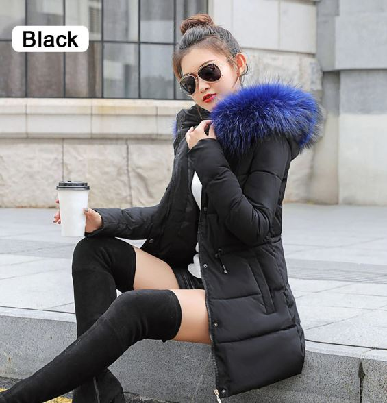 Coats parka black thick cotton padded lining ladies