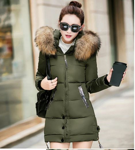 Women's winter coat large fur hooded parka long coats cotton