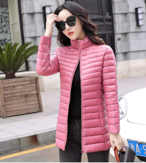 Thicken warm Hooded long Slim cotton coat Down jacket women