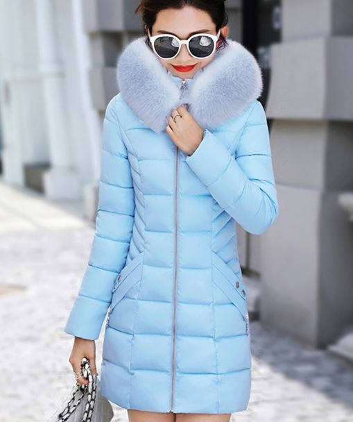 New down hooded cotton parkas female warm outwear faux fur collar plus