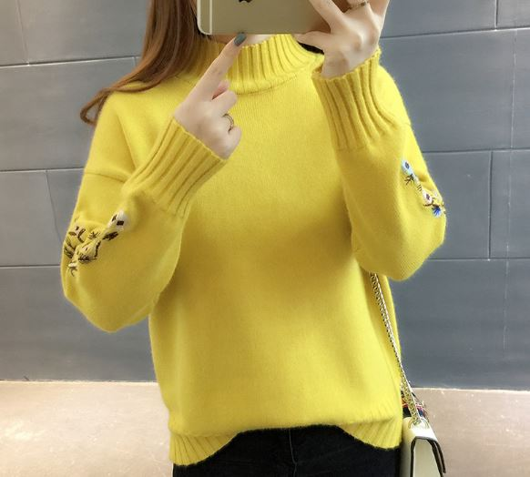 Sweater Top Woman Long Sleeve Warm Embroidered Knitted Sweaters