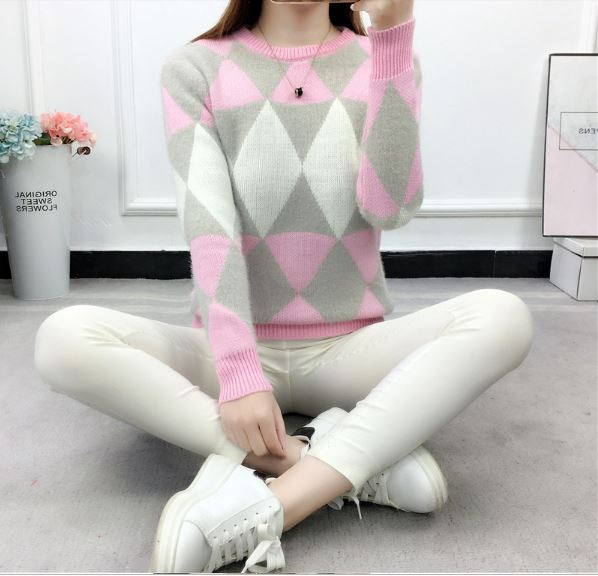 Women fashion spring autumn pullover long sleeve plaid casual ladies