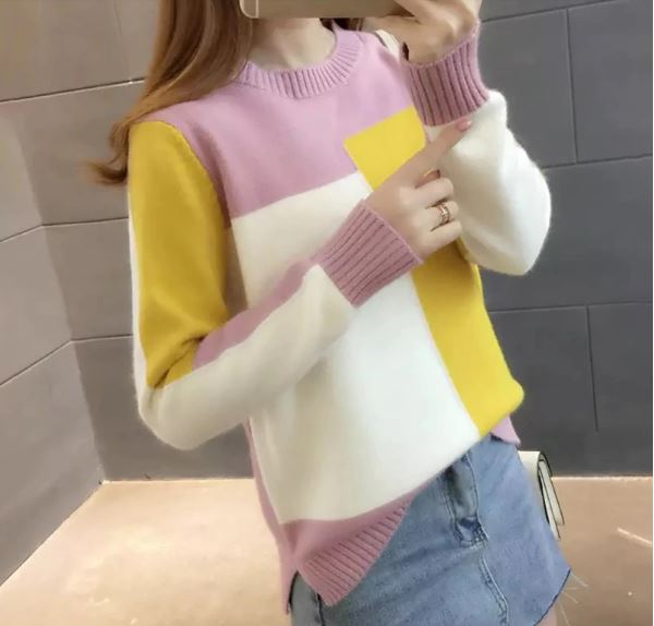 Sweater Round Collar Colorblock Long Sleeve Knitted Multicolored Top with Splicing Thin Sweaters