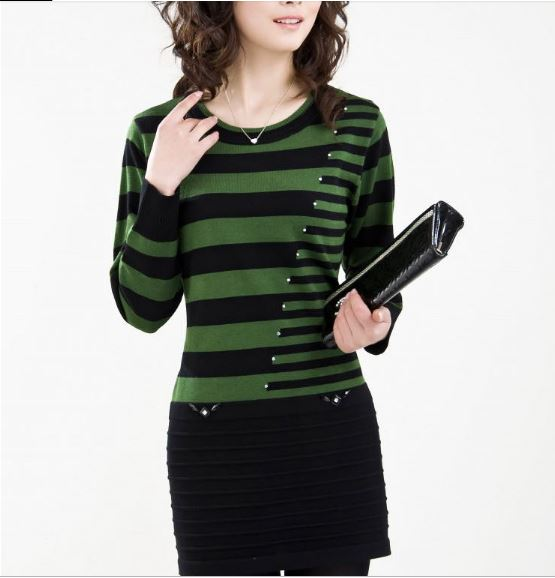 Women sweater dress high quality cashmere winter sweater cheap clothes stripes tops