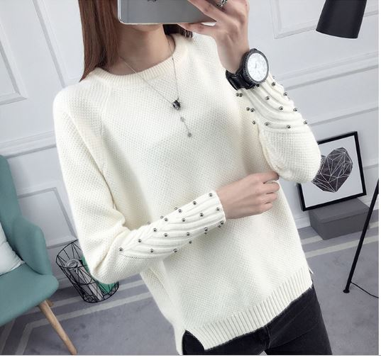 Korean short-sleeved all-match knitted sweater winter long-sleeved loose sweater