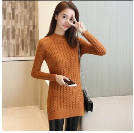Sweater female new loose bag hip bottoming tops ladies solid color split fork thin knitted