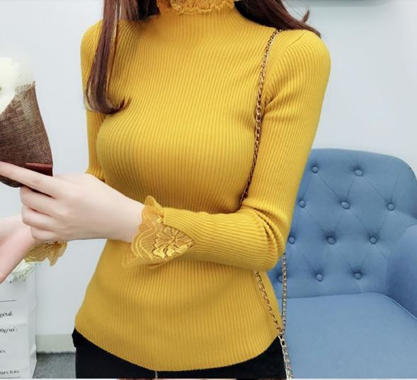 Sweater Female Long Sleeve Elastic Collar Blouses Woman Winter Casual Solid