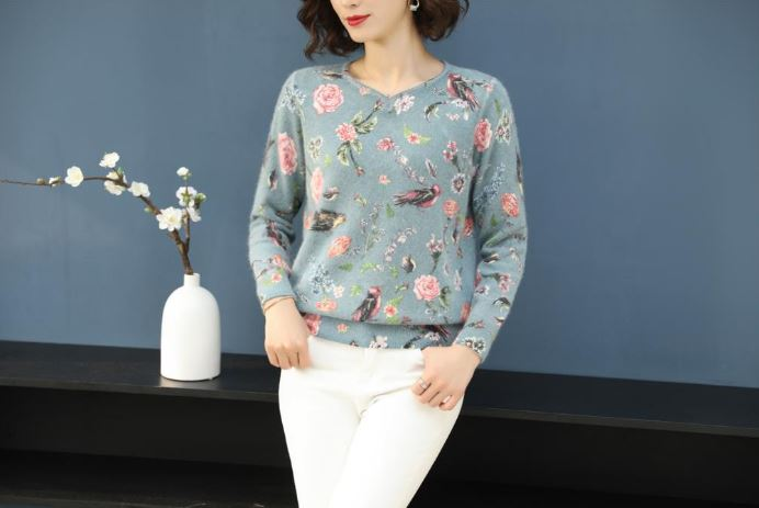 Winter Sweater Fashion Floral Bird Pattern Pullover Casual Loose Long Sleeve Sweater