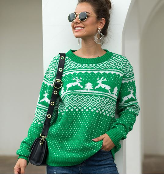 Sweater Women Snow and Sweetheart Jumper Autumn Winter Vintage