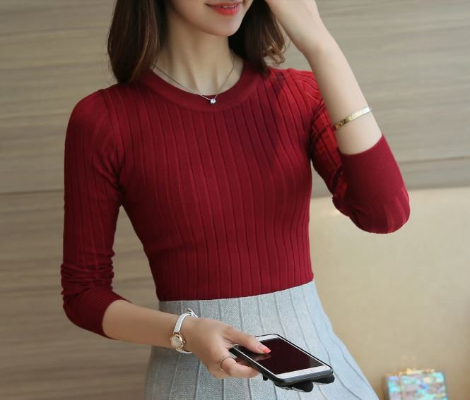 Winter green red black gray tops women knitted pullovers long sleeve female shirt