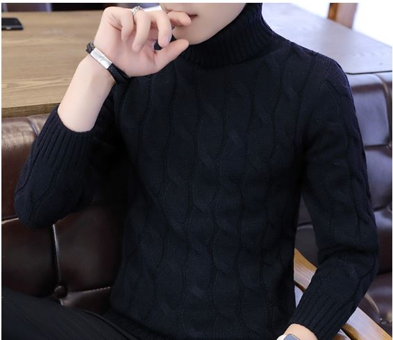Sweater Pullover Slim Warm Solid High Lapel Jacquard Hedging