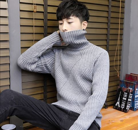 Winter Thick Warm Sweater Male Turtleneck Irregular Stripe Sweaters Slim Fit Pullover Sweater