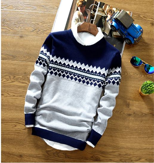 Sweaters Men Fashion Autumn Winter Style Knitted Patchwork Quality Men Pullover Sweatshirt