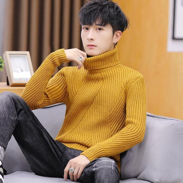 High Neck Knitted Sweater Striped Jumper Slim Fit Sweater