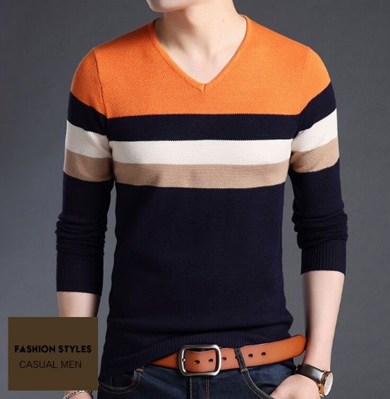 Sweaters Male Pullover Slim Fit Jumpers Knitted V Neck Striped Warm Autumn Korean Style Men's Casual Clothes