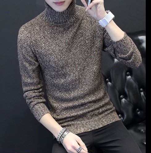 Sweaters Autumn Male Turtleneck Knitted Brand Casual Sweaters Slim Fit Pullover Knitwear