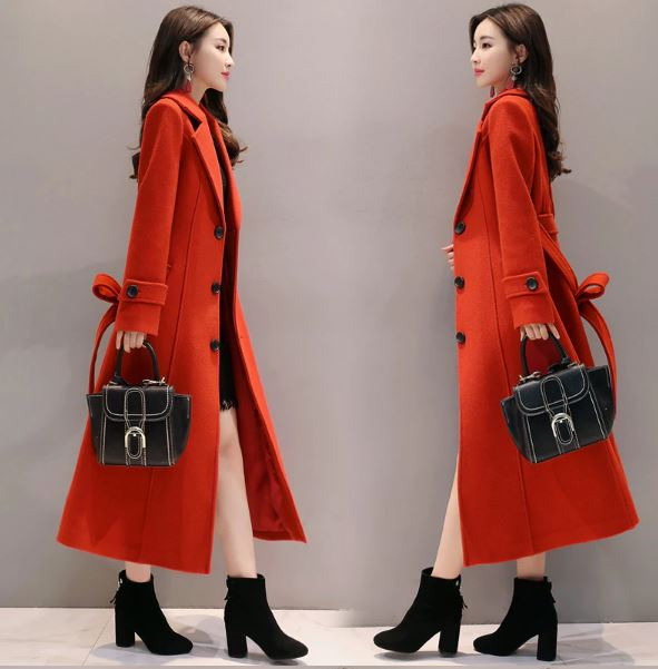 long section wild red wool coat female long spring autumn winter thin blend outerwear