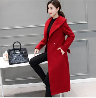 Coat high quality korean style bow belt fashion ol red coat