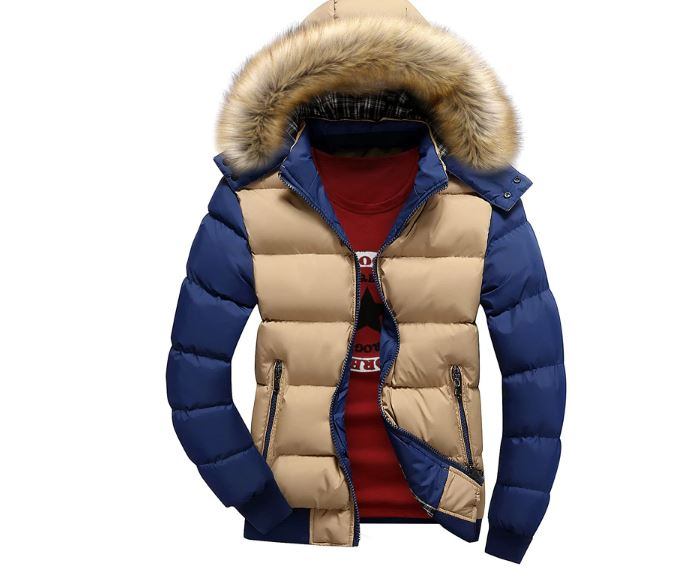 Jacket men warm down jacket 6 colors fashion brand hooded fur hat male outwear thick casual coat
