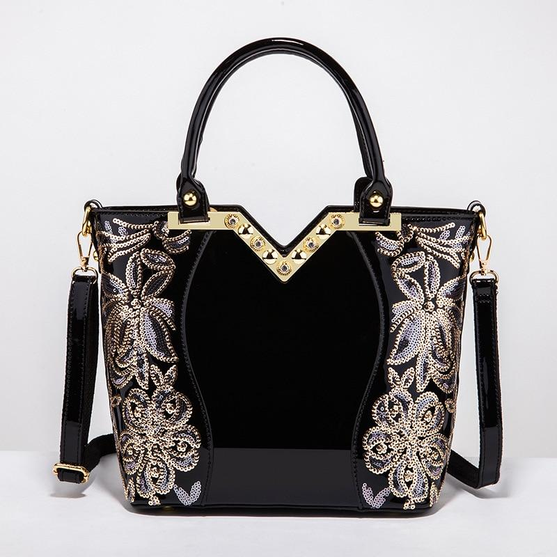 2018 Patent Leather Shoulder Bag Female Evening Party Bags Brand Designer Handbags Large Capacity Women Sequined Cross Body Tote