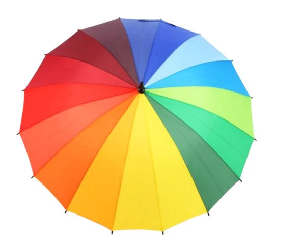 Larger 133cm 16K Windprood Rainbow Rain Umbrella Women Strong Wateproof Umbrella