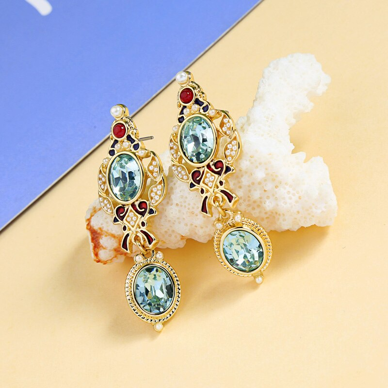 FINS Suit Jewelry Earrings 2018 Statement of Earrings Hanging Crystal Blue Imitation Pearl Long Earrings for Women