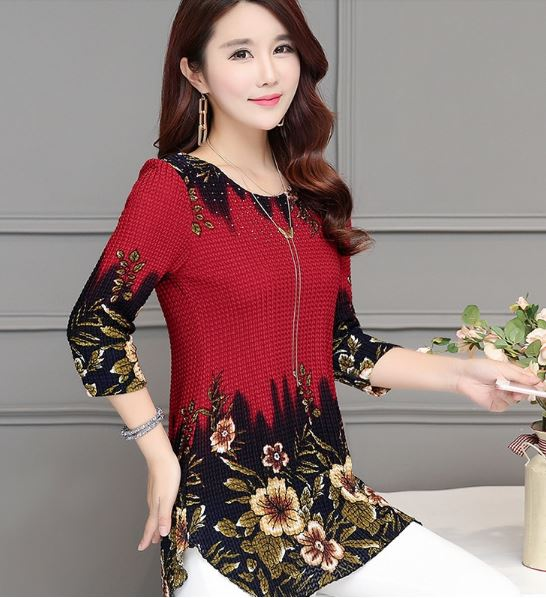 Summer Fashion Three Quarter Slim floral Long Shirt Female Color Casual Slim Plus Size